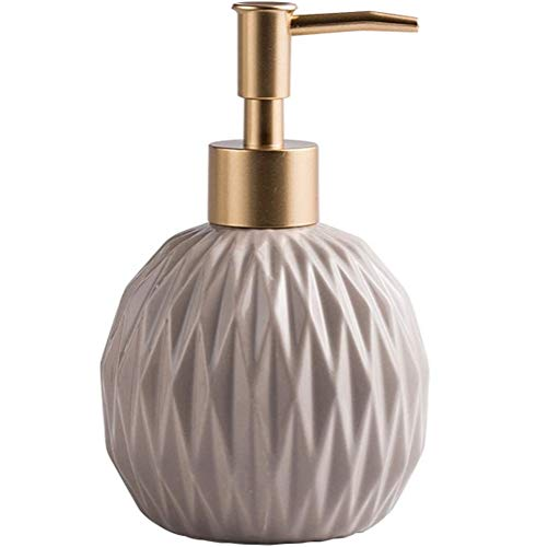 FülleMore 400ml Nachfüllbar Seifenspender Pumpseifenspender aus Keramik Badezimmer Hotel Handseifenspender Duschgel Shampoo Spender Küche Spülmittelspender (Khaki)