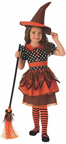 Halloween - Disfraz de Bruja para niña, naranja con lunares - 3-4 años (Rubie