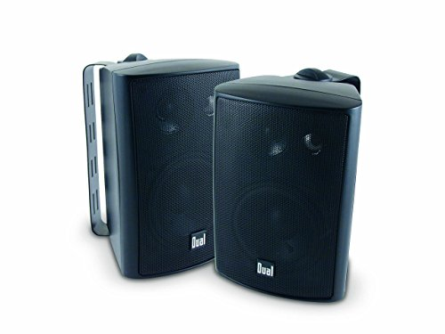 Dual Electronics LU43PB 3-Way High Performance Outdoor Indoor Speakers with Powerful Bass | Effortless Mounting Swivel Brackets | All Weather Resistance | Expansive Stereo Sound Coverage | Sold in Pairs , Black , case