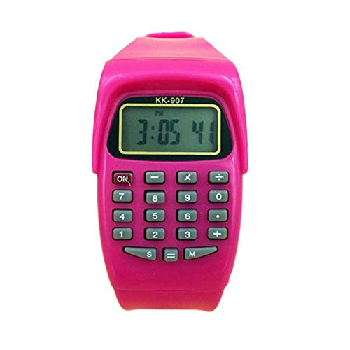 Kids Multifunction Calculator Wrist Watch for Boys and Girls Silicone School Date/Time Display Digital Watches (Pink)