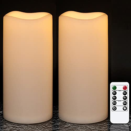 """GenSwin 8"""" x 4"""" Waterproof Outdoor Flameless Candles Battery Operated with Remote Timer, Large Flickering LED Pillar Candles for Indoor Outdoor Lanterns, Won't melt, Long-Lasting(White, Set of 2)"""