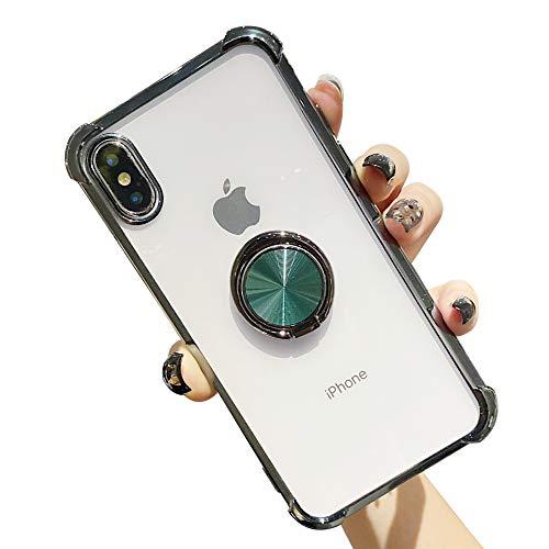 Suhctup Coque Compatible pour Huawei P30 Pro avec Support,Etui Case Transparent Silicone TPU Gel [Angles Renforcés] Antichoc Housse Cover avec 360° Support de Voiture Magnetique,Vert