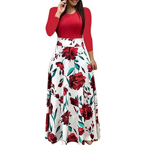 VEMOW Vestido Mujer Bohemio Largo Verano Playa Fiesta Manga Larga Cuello en V Talla Wrap Maxi Vestidos, Sexy Elegante Impresin de Lunares Floral Vestido Largo Damas Casual Falda(Rojo,S)