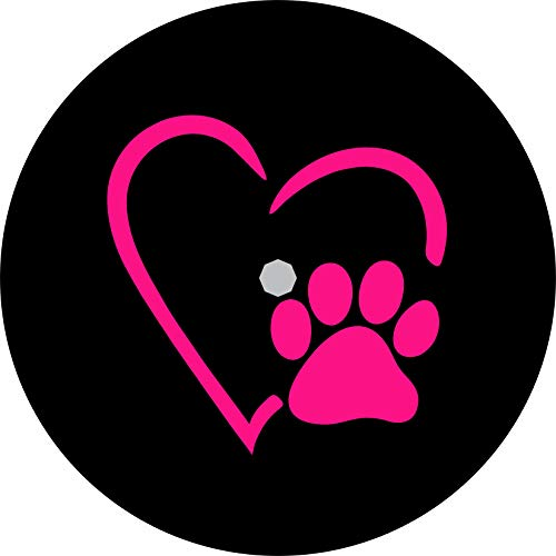 TIRE COVER CENTRAL Love Paws Pink Heart Spare Tire Cover (Select tire Size/Back up Camera in MENU) Custom Sized to Any Make/Model (245/75r17 Centered Back up Camera)