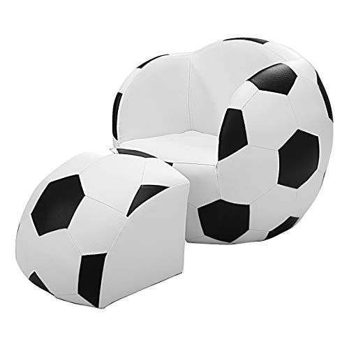 Costzon Children's Sofa and Ottoman, Football Shaped Kids Armchair with Footstool, Solid Wood Structure Bearing up to 110LBS, Easy Clean PVC Cover, for 1 to 4 Year Old, Passed TB117 Standard Tests