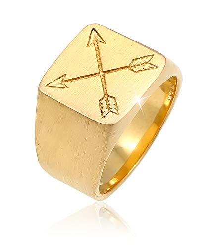 Kuzzoi Siegelring Herrenring massiv 15 mm breit in 925 Sterling Silber vergoldet, Biker Ring mit Pfeilen graviert, Ring für Männer in der Ringgröße 62, 0603690520_62