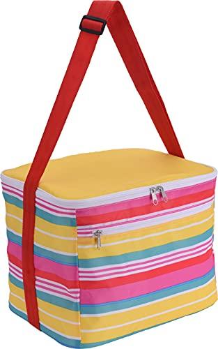 MIK Funshopping Bolsa isotérmica Tropical Cooler Bag de 16 litros, bolsa isotérmica para el almuerzo, bolsa de pícnic, 32 x 25 x 27 cm, plegable, para transporte de alimentos, color amarillo