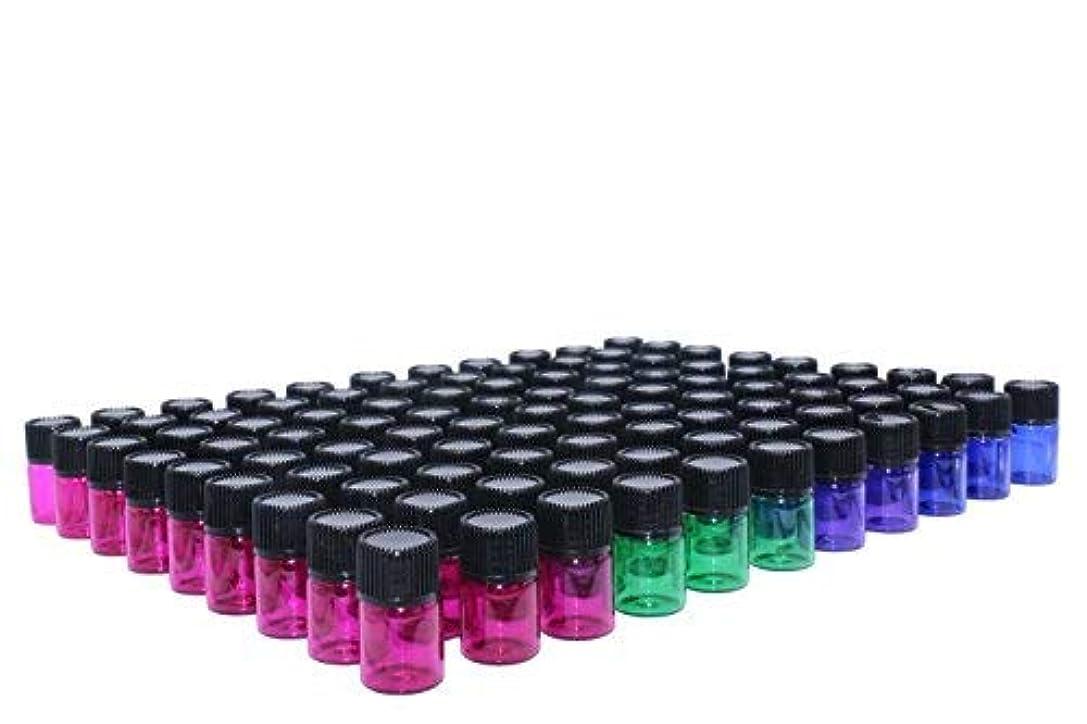 モール背景試すWresty 2 ml(5/8 dram) Essential Oil Bottle,100 Packs Blue Green Pink Purple Glass Vials with Orifice Reducers Mini Sample Bottles(3 dropper,stickers) [並行輸入品]