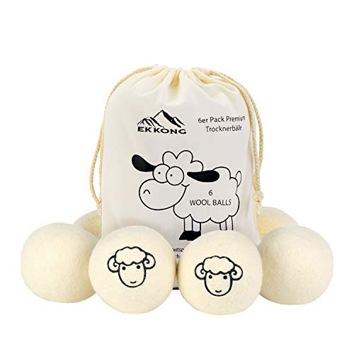 EKKONG Trocknerbälle Wolle, 6er Pack Trocknerball Duft für Wäschetrockner, Filz-Bälle Bio Weichspüler Wäscheduft aus 100{00b3d4ff9097ea0af0d13e49162da1c77de3d2af59f848e5b519dd1c38532cca} Natürlicher Schafwolle, Perfekt für Daunenjacken Weiche Handtücher Bettwäsche