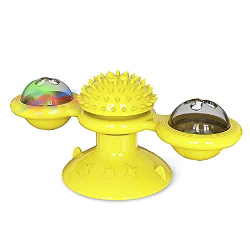 N\C Juguetes para Gatos, Mascotas, Molino De Viento Giratorio, Bola Giratoria, Vaso Cat Windmill-Yellow