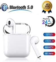 Bluetooth 5.0 Headset, Built-in Microphone and Charging Box, 3D HD Stereo Noise Reduction for All high-end Smartphone Devices