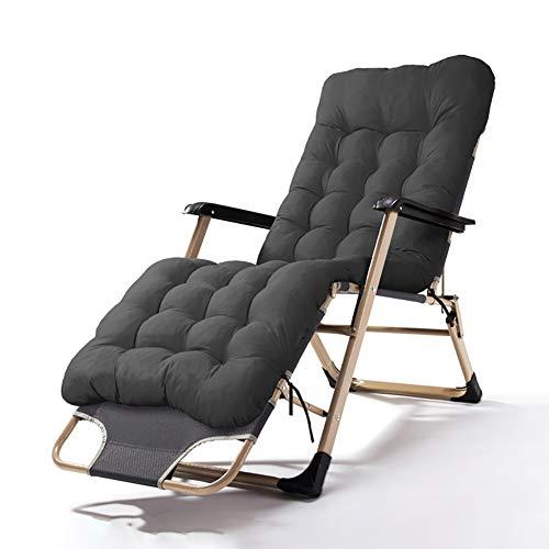 HRXS Klappstuhl Schwerelosigkeitsstuhl Verstellbarer Terrassen-Liegestuhl zum Liegen und Schlafen auf der Terrasse im Innenhof Strandschwimmbad,Black with Cotton pad