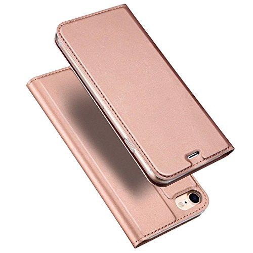 Preisvergleich Produktbild Conie EF1465 Electroplated Flip Case Kompatibel mit iPhone 5 / 5S / SE,  PU Leder Hülle Flip Wallet Cover Kartenfächer Standfunktion Magnetisch für iPhone SE iPhone 5 iPhone 5s Etui Rosegold