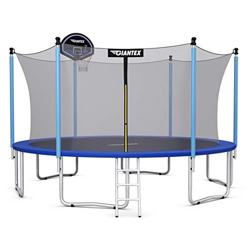 Giantex 14Ft Trampoline,Enclosed Trampoline w/Basketball Hoop, Ladder, Safety Enclosure Net, Spring Pad, Outdoor Big Trampoline Basketball Hoop for Kids, Adults