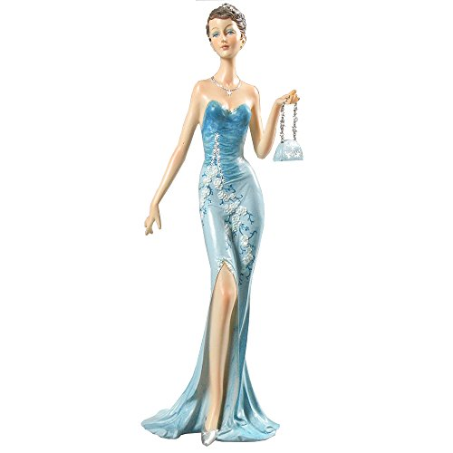 Belles 37.4# Dekorative Figur Dame in einem blauen Kleid Art Deco
