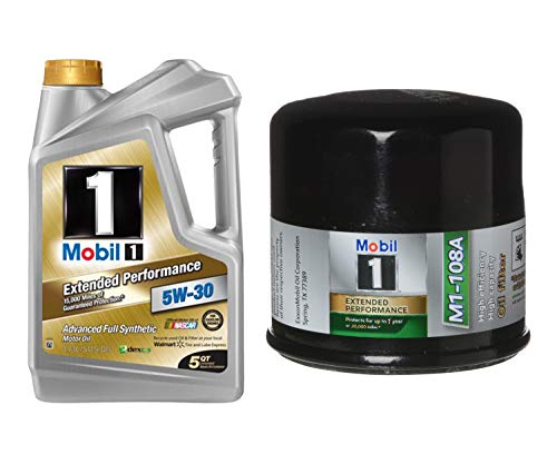 Mobil 1 5W-30 Extended Performance Full Synthetic Motor Oil, 5-Quart, Single Bundle M1-108A Extended Performance Oil Filter
