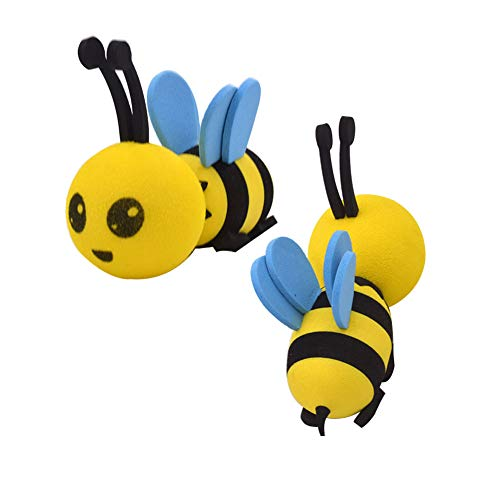 2 Pieces Cute Honey Bee Aerial Ball Car Antenna Toppers Smiley Bumblebee...