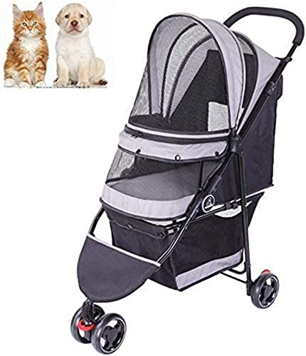 Carrito de cochecito para mascotas, carrito de transporte para mascotas Cochecitos de equipo para mascotas Equipo portátil para mascotas Cochecito de 4 ruedas para mascotas, para gatos, perros, fácil
