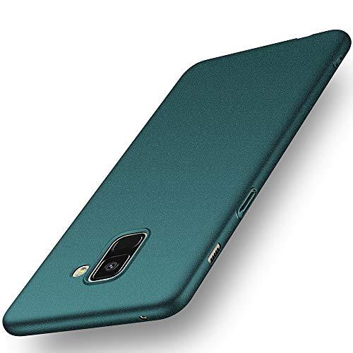 Avalri Coque Samsung Galaxy A8 2018, Housse Étui Rigide Design Simple Ultra-Mince Antichoc Anti-Rayure en PC pour Galaxy A8 2018 (Gravier Verte)