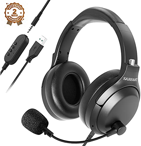 USB Headset/3.5mm Computer Headset with Microphone Noise Cancelling, Flexible Over-Ear Earcups and Rotatable Boom Mic, Wired PC Headset, Comfort Office Headset for Laptop/Call Center/Cell Phone/Skype