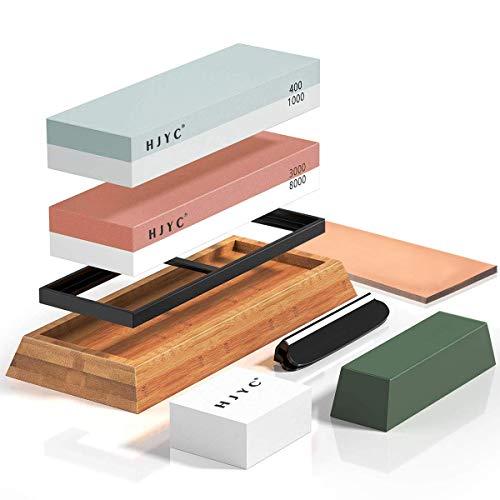 Knife Sharpening Stone Set,Premium 400/1000 3000/8000 Grit Whetstone Kit,Non-slip Bamboo Base,Flattening Stone,Angle Guide,Leather Honing Strop and Polishing Compound for Knives.