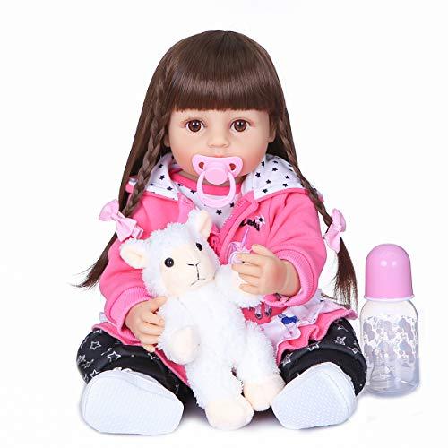 Xyfw 55Cm De Largo Pelo Niñas Regalo Suave Silicona Vinilo Muñeca Recién Nacido Flexible Babydoll Dos Colores Piel Bebé Rosa Abrigo,Blanco