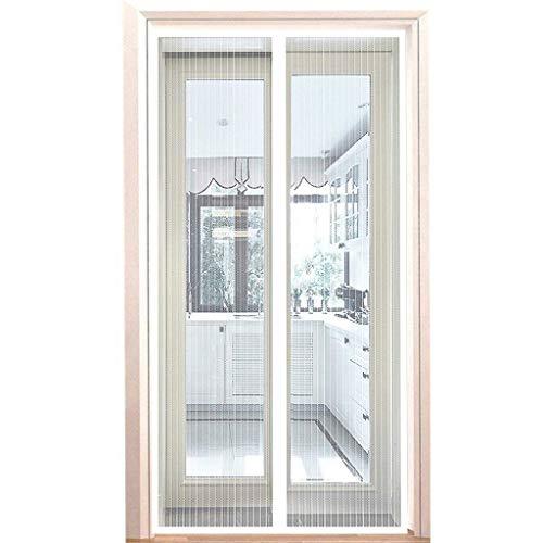 Fliegengitter für Tür 95x205cm, Magnetischer Fliegenvorhang Moskitonetz, Magnetische Adsorption, Faltbar, Auto Schließen, for Türen/Patio - Weiß