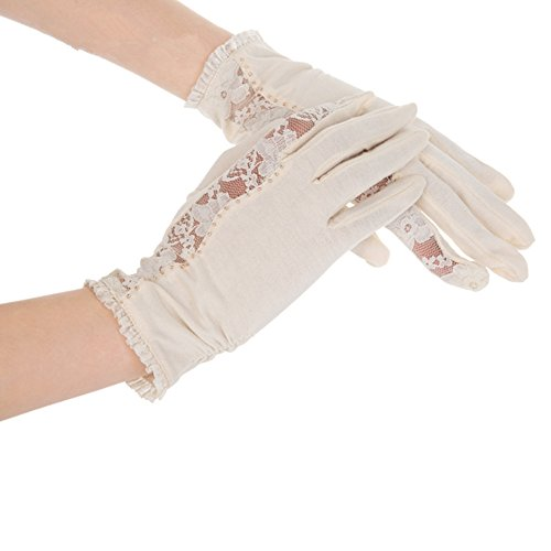 Kenmont Damen-Sommerhandschuhe mit Spitze, UV-Schutz, 100 % Baumwolle, für draußen, zum Autofahren Gr. Einheitsgröße, beige