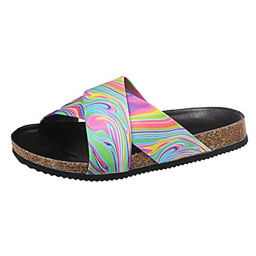 Damen Sandalen Kreuzgurt Slingback Peep Toe Slip On Bequeme Flache Beach Strandsandale Sommer Outdoor Sandals(3-Mehrfarbig/Multicolor,38)