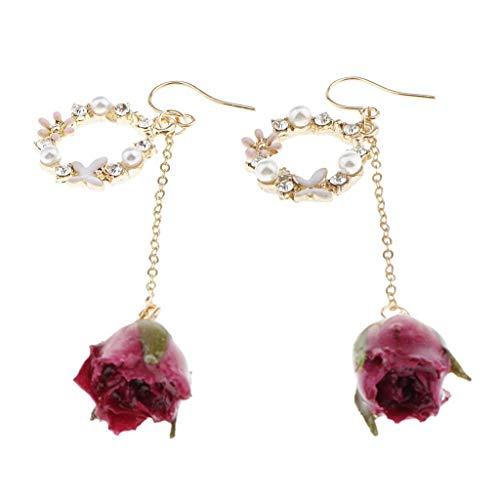 Pendientes moldeados de perlas de flores reales de resina moldeada mujeres niñas Chic cuelga Earbob