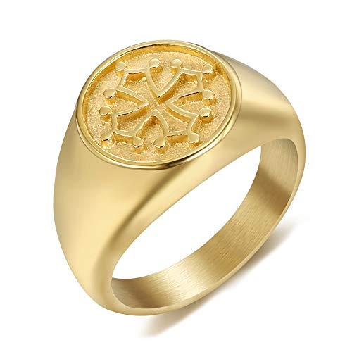BOBIJOO Jewelry - Signet Ring Ring Unisex Man Vrouw Staal Goud Gouden Geplateerde Kruis Occitania, Languedoc, Frankrijk