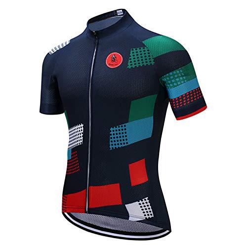 Weimostar Grid - Maillot de ciclismo de manga corta con 3 bolsillos...