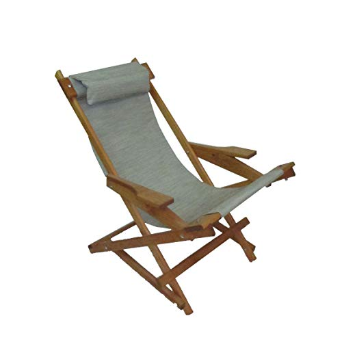 Wooden Folding Rocking Chair with All Weather Sling - Seafoam