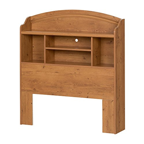 South Shore Prairie Bookcase Headboard with Storage, Twin 39-inch, Country Pine