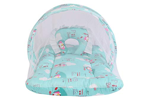 Babloo New Born Baby Bedding Set Mattress with Mosquito Net (0-6 Months) Sea Green