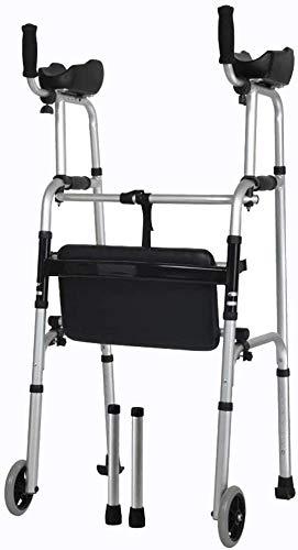 Ältere faltbaren Rollstuhl for Oma Opa GIF Laufgestell Folding leichte Unterarmstütze Rollator Rollator mit Sitz/Armlehne Pad und 2 Räder Ski Füße for senioren Adjustable Grip Heigh Comf