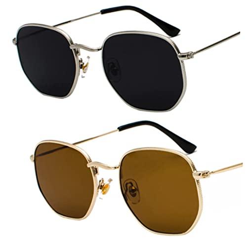 BARCUR 2021 Vintage gafas de sol con montura de Metal piloto. Unisex de verano. Anti-Reflectante, UV400. De policarbonato