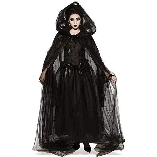 Aiserkly Halloween Kostüm Damen Zombie Braut Vampir Teufelchen Gruseliger Frauen Cosplay Vintage mittelalterlichen mysteriösen Black Witch Kleid Gothic Karneval Cosplay Kostüm Hexenkostüm Schwarz XL