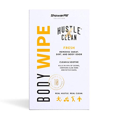 The Body Wipe by Hustle Clean – ShowerPill Collection – No Shower Wipes for Adults for Post-Workout or Camping Bathing – 10 Individually Wrapped Wipes