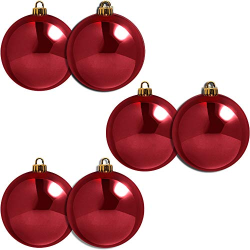 CREOFANT - Palline per albero di Natale, in plastica, infrangibili, Bordeaux lucido, 140 mm