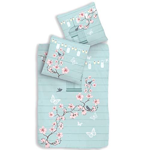 Schmetterling-e Vintage Bettwäsche Set 2 teilig türkis Mint · Mädchen-Bettwäsche · Vogel, Schmetterling & Blumen - Kissenbezug 80x80 + Bettbezug 135x200 cm - 100% Baumwolle