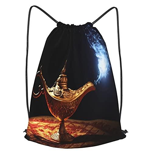 Bolsa Cuerdas con cordón impermeable Unisex,Lámpara mágica de la historia de Aladdin con Genie apareciendo,LigeroCasual ,Deporte Gimnasio Mochilas