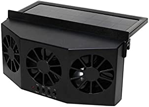 Ferryone Solar Powered Car Fan Auto Front/Rear Window Air Vent Exhaust Fan Vehicle Radiator Vent with Ventilation (Black)