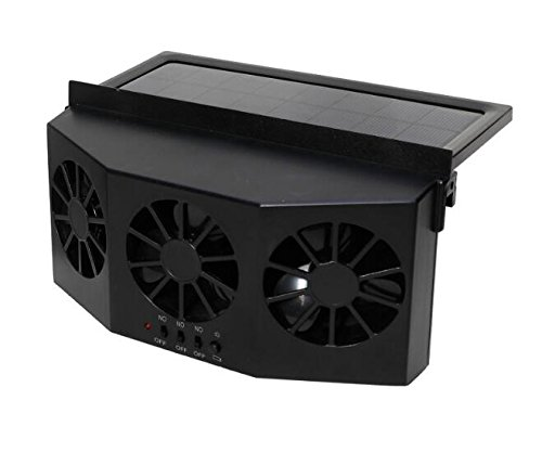 Solar Powered Car Fan Auto Front/Rear Window Air Vent Exhaust Fan Vehicle Radiator Vent with Ventilation(Black)