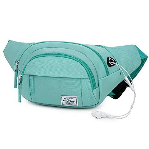 Wind Took Bauchtasche Gürteltasche Brusttasche Stylisch groß Hüfttasche Sport Handytasche mit Kopfhörer Port für Reise Wanderung Outdoor Running, Damen und Herren, 35×7.5×15cm