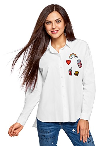 oodji Ultra Mujer Camisa Holgada con Parches, Blanco, ES 44 / XL