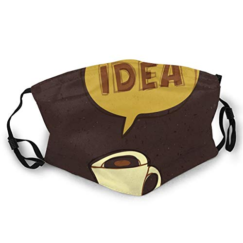 Gezichtsmasker, Cup of Idea Concept Brew of Creativity and Imagination Sketch Art Safety Mouth Cover voor volwassenen