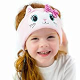 CozyPhones Over The Ear Headband Headphones - Kids Headphones Volume Limited with Thin Speakers & Super Soft Stretchy Headband - Pink Kitty