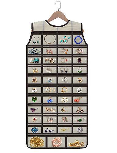 Fnova Organizador de Joyería Colgante, 86 bolsillos Visible + 1 Percha de madera, Organizador de Joyas Colgante a Doble para Viaje, Collares, Pendientes accesorios (Beige)