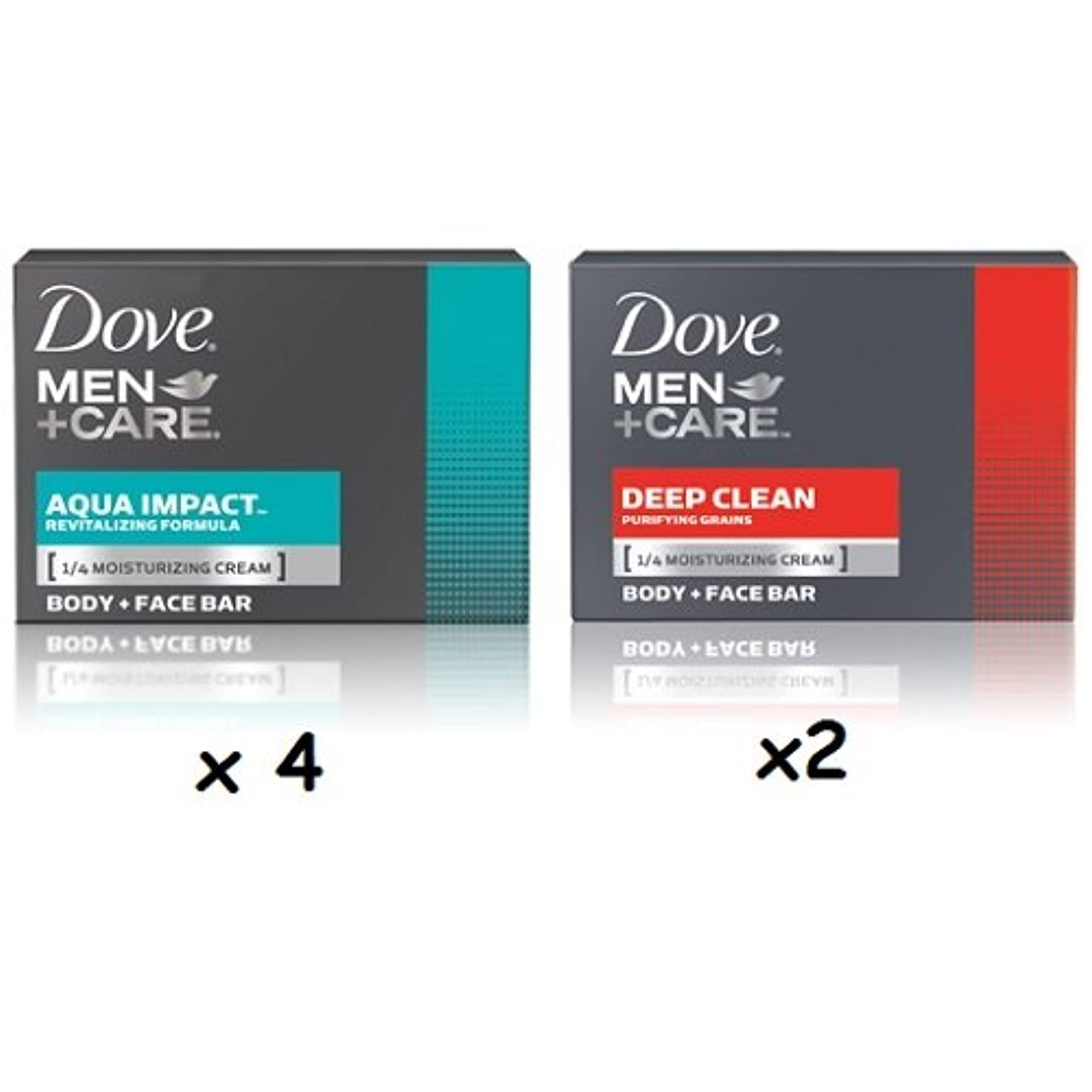 旅行者篭悪意【6個セット】Dove MEN+CARE Body&Face Bar Soap (4ozx6) ダヴ メンズプラスケア 体&顔用の固形石鹸(113gx6)(Deep Clean 4個とAqua Impact2個 合計6個セット)